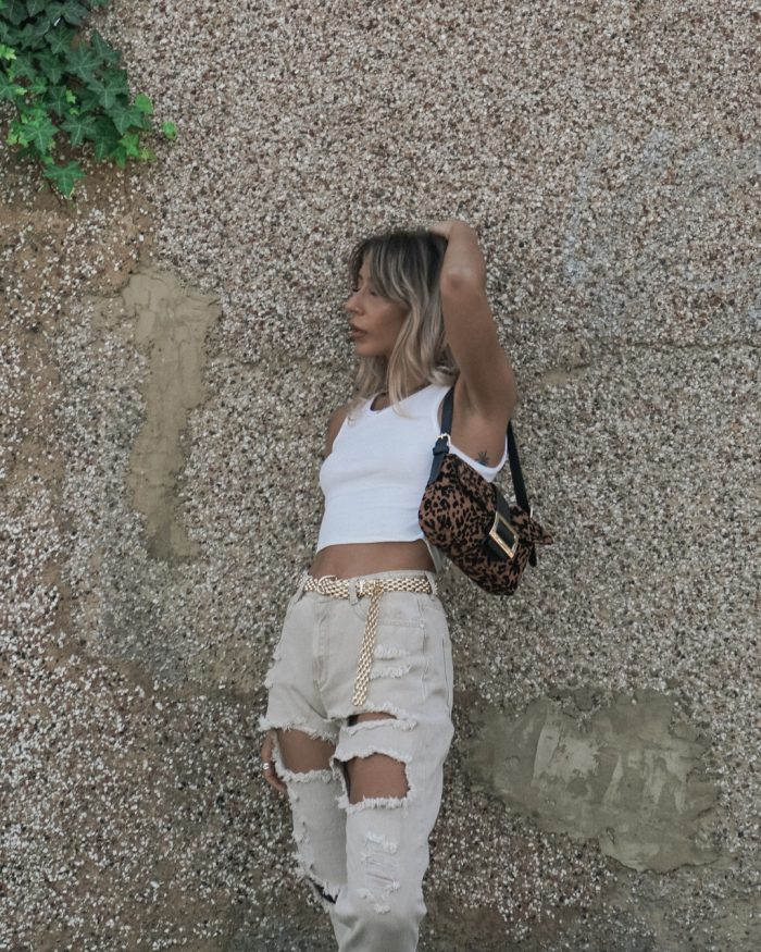 University outfit: white cami top