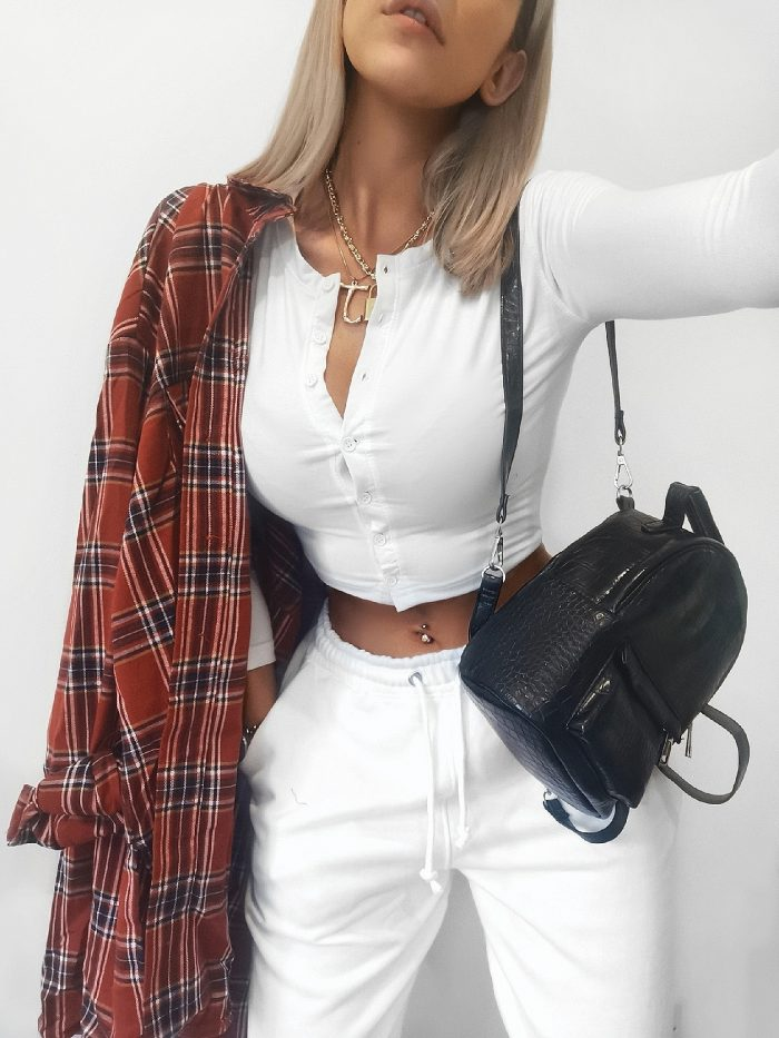 University outfit: Jade Leanne red plaid shirt