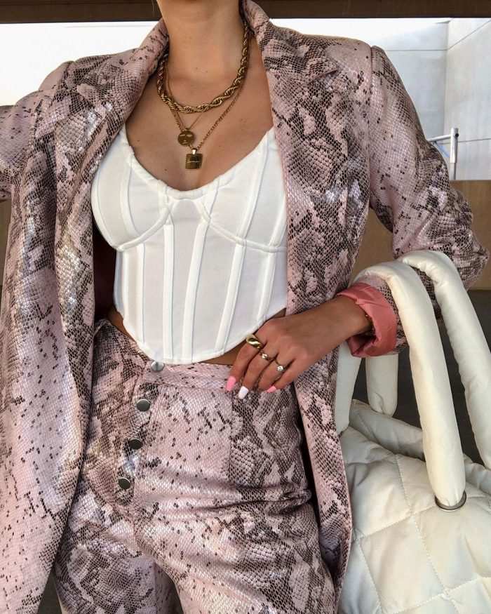 Snake print suit with white corset top